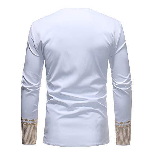 Blanc Haut Africain Manches Hiver Automne Imprimé Longues Malloom Chemise Luxe Hommes Dashiki De Chemisier CO8fqq