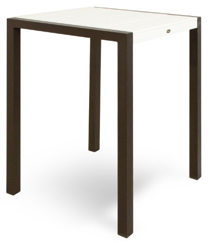 Trex Outdoor Furniture TX8012-16CW Surf City Bar Table, 30-Inch, Textured Bronze/Classic White ()