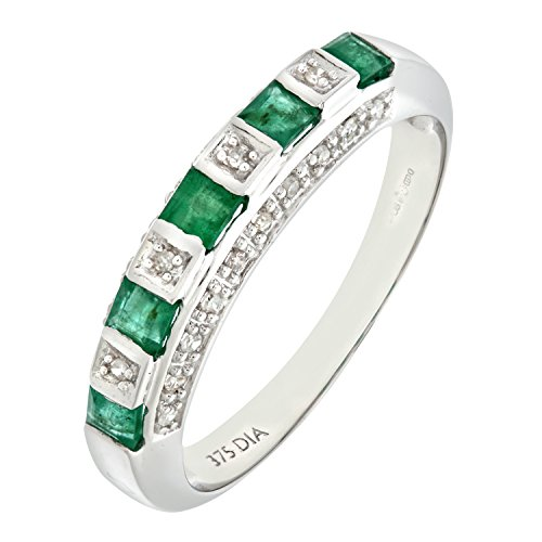 Bague Femme - Or blanc (9 cts) 2.2 Gr - Emeraude - Diamant 0.004 Cts