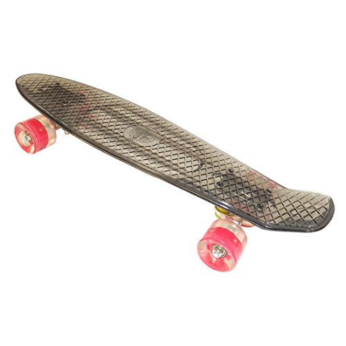 Penny Style Board Cruiser Transparent Skateboard Light Up Wheels - Clear Black