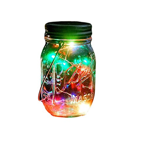 Outdoor Decor Color Changing Led Solar Mason Jar Lights1 pc Starry Fairy String Lights Insert with Jar Decorative Accessories on Porch/ Fireplace/ Wall/ Ground/ Stairs/ for Wedding Halloween Party