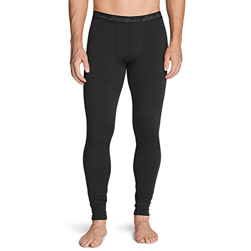 Eddie Bauer Men's Midweight FreeDry Merino Hybrid Baselayer Pants, Black XL (Bauer Mens Underwear)