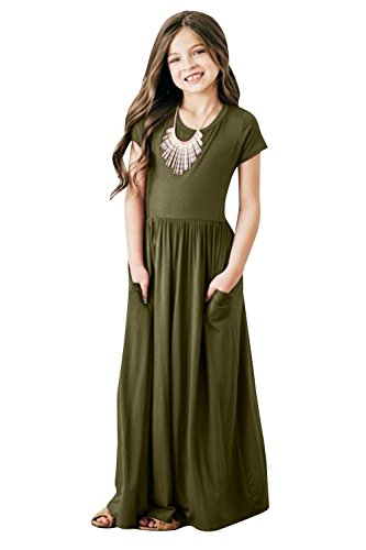 Foshow Girls Short Sleeve Maxi Dress Empire Waist Plain Pleated Swing Dresses with -