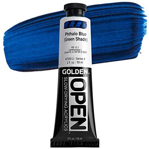 Golden Open Acrylic Paint, 2 Ounce, Phthalo Blue G.s.