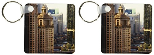 3dRose Chicago River, Michigan Avenue, Chicago, Illinois, Bernard Friel Key Chains, Set of 2 - Avenue Shops Michigan