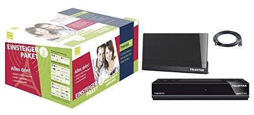 Telestar digiHD TT5 IR DVB-T2 HD freenetTV Einsteigerpaket Receiver+Antenne+HDMI Kabel (digiHD TT 5IR, Antenna 9 LTE schwarz, 1,5m HDMI Kabel, H.265/HEVC, inkl. 3 Monate Guthaben, HDMI, AV-Ausgang, USB, LAN) schwarz