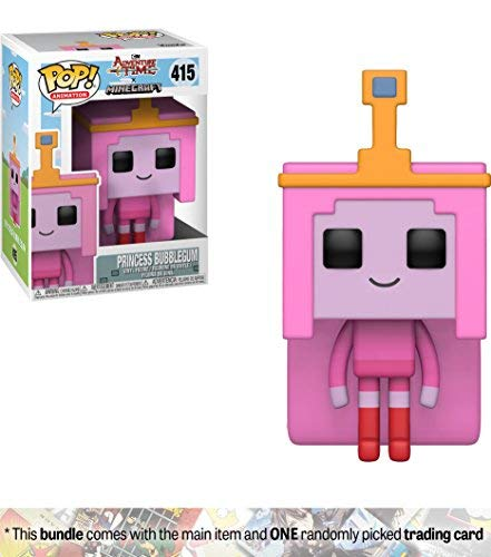 Funko Princess Bubblegum: Adventure Times / Minecraft x POP! Animation Vinyl Figure + 1 American Cartoon Themed Trading Card Bundle [#415 / - Gum Trading Bubble Cards