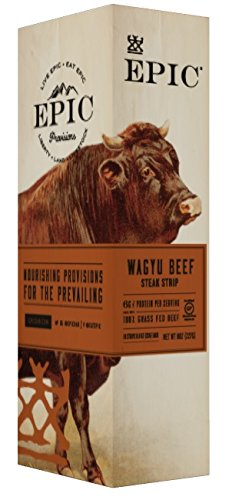 Epic 100% Grass Fed Wagyu Beef Steak Strip, 0.8 Ounce (Pack of 10)