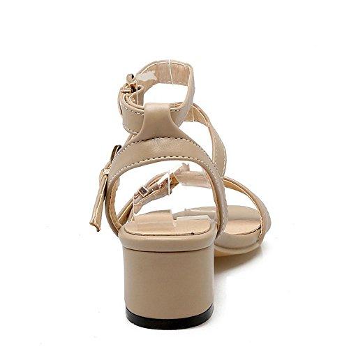 TAOFFEN Women Fashion Buckle Ankle Strap Sandals Mid Heel Shoes Khaki xGFDsk