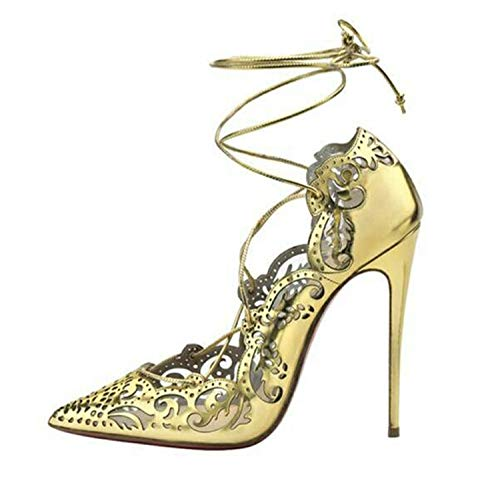 Sexy Women Roman Gladiator Sandals See Through Shoes Openwork Ankle Cross Tied Thin High Heel 12CM Gold 11.5