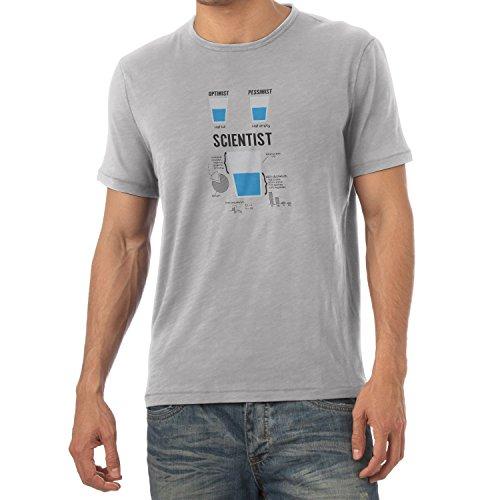 NERDO Optimist Pessimist Scientist - Herren T-Shirt, Größe XXL, Grau Meliert