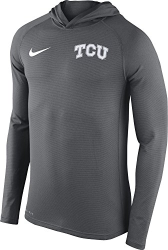 Nike TCU Horned Frogs Men's Stadium Dri-FIT Touch Pullover Hoodie Shirt Top (XXL, Grey)