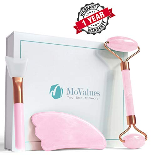 Original Jade Roller and Gua Sha Tools Set- Rose Quartz Face Roller- Real 100% Jade- Face Massager For Wrinkles, Anti Aging- Authentic, Durable, Natural, No Squeaks- Bonus Mask Brush