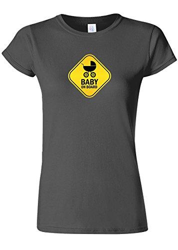 特別な方言効率的にBaby On Board Pregnant Surprise Novelty Charcoal Women T Shirt Top-XXL