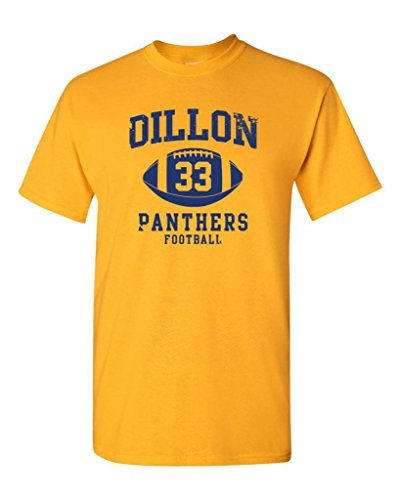 Dillon Football Retro Adult DT T-Shirt Tee (XX Large, Gold)