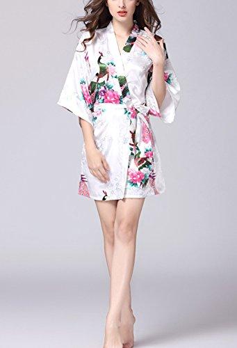 Cintura giapponese Camice Con Pigiama Vestaglia Corta da donna Bianco Raso Elegante Pajamas Kimono da Vestaglia TieNew Kimono Donna Notte wSzZRBqR