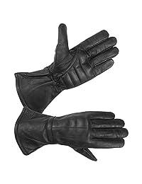 Mens Water Resistant Deerskin Leather Motorcycle Gauntlet Gloves with Padded Palm