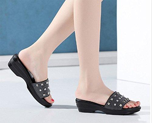AWXJX Frauen Flip Flops Dick mit Künstliche Diamanten äußeren Ferse Verschleiß Rutschfeste Mitte der Ferse äußeren c5164c