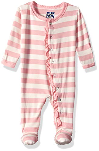 Kickee Pants Baby Girls' Essentials Print Muffin Ruffle Footie, Lotus Stripe, 0-3 - Girls Stripe Pant