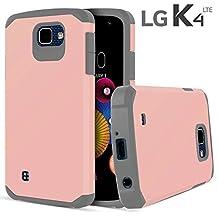 LG K4 Case, LG Optimus Zone 3 Case, LG Spree Case, LG Rebel LTE Case, Celljoy [Liquid Armor] Slim Fit Dual Layer TPU Protective Hybrid **Shockproof** - Thin Hard Cover Case (Rose Gold / Gray)