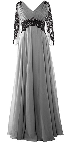 MACloth Women Lace Evening Gown Long Sleeve V Neck Mother of The Bride Dress (US20w, Silver)