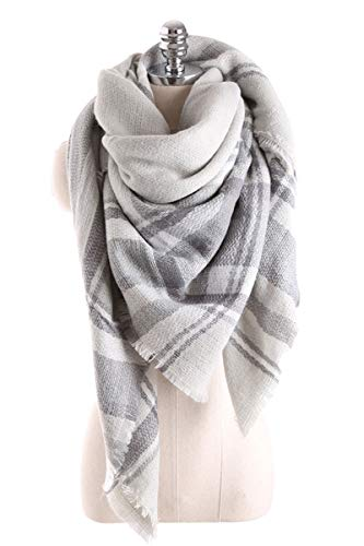 Leggings Wool Plaid (Women Tartan Scarf Stole Plaid Blanket Checked Scarves Wraps Shawl(Plaids Grey Grey))