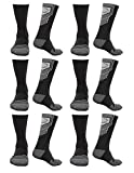 EvoShield Performance Crew Socks Black With Gray Medium (6 pack)