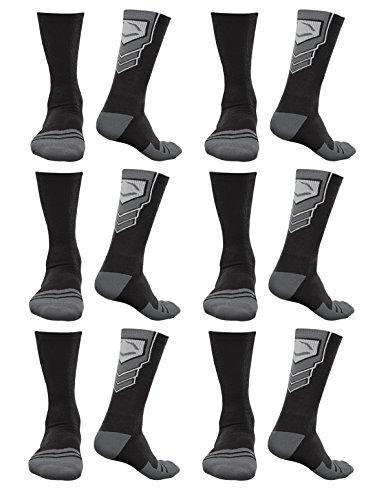EvoShield Performance Crew Socks Black With Gray Medium (6 pack) by EvoShield