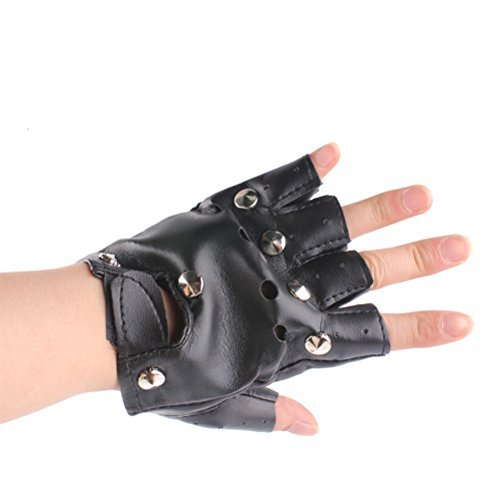 LUOEM Punk Rock Half Finger Gothic Gloves Cosplay Punk Style Gloves Costume Accessory - Black