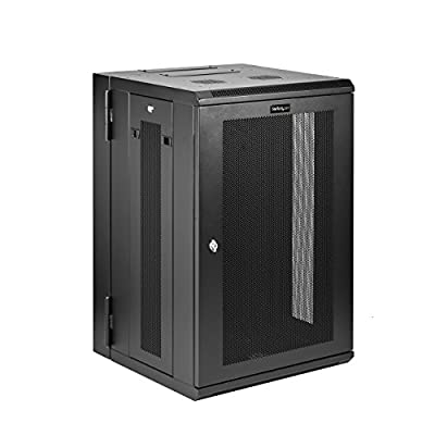 StarTech.com 18U Wall Mount Network Switch Cabinet - Hinged Back Panel - Fully Secure IT Cabinet (RK1820WALHM)