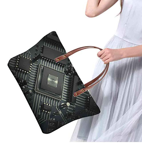 "Custom Handbag Tote Shopping Bags central computer processors cpu concept technology background high resolution d render Printing Purse With Compartments Size:19.2""Top &15.3""Bottom,11.41""H x 4.5""W"
