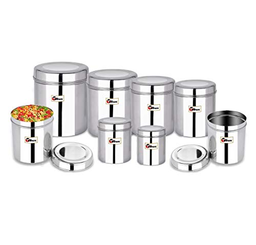 EBun-Stainless-Steel-Set-of-8-Canisters-Containers-Ubha-Dabba-with-lid-for-Kitchen-Storage-3005006508501200140019502500-GMS-Plain-Model