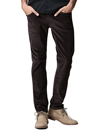 Match Men's Slim-Tapered Flat-Front Casual Corduory Pants (29W x 31L, 8084 Brown)