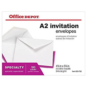 Office Depot Invitation Envelopes 4 3 8in X 5 3 4in White Pack Of 100 12033