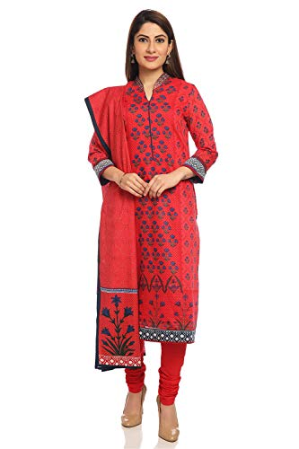 (BIBA Red Straight Cotton And Silk Suit Set Size 38)