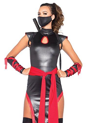 (USA Clothing 5PC.Shadow Ninja Dress sash mask arm Guards Thigh Highs Bundle with Free Shorts)