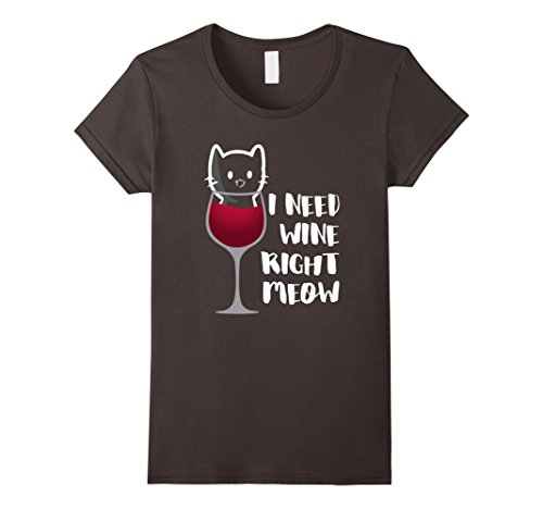 Womens I Need Wine Right Meow ~ Kitty in a Glass ~ Cat t-...
