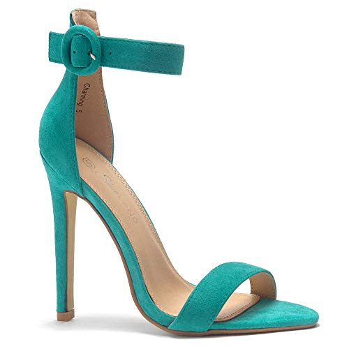 (Herstyle Charming Women's Open Toe Ankle Strap Stiletto Heel Dress Sandals Elegant Wedding Party Shoes Teal 10.0 )