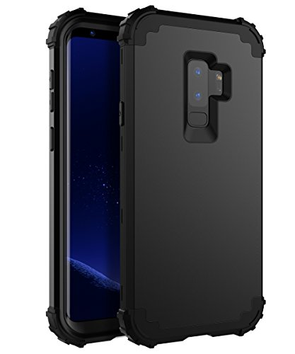 XIQI Samsung Galaxy S9 Plus Case Three Layer Hybrid Heavy Duty Shockproof Impact Defender Bumper Anti-Scratch Protective Case Cover for Galaxy S9 Plus (2018),Black