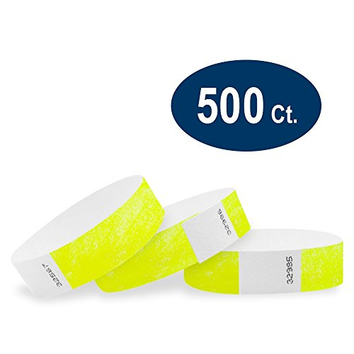 Neon Tyvek Yellow Wristbands (WristCo Neon Yellow 3/4