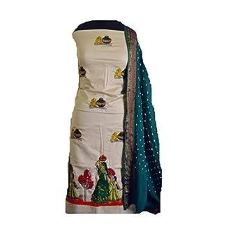 KATHIWALAS Women's Cotton Silk Kutch Work Bandhani/Bandhej Unstitched Dress Material Suit (LIGHT BROWN GREEN, Free Size) 41oPeT8V56L