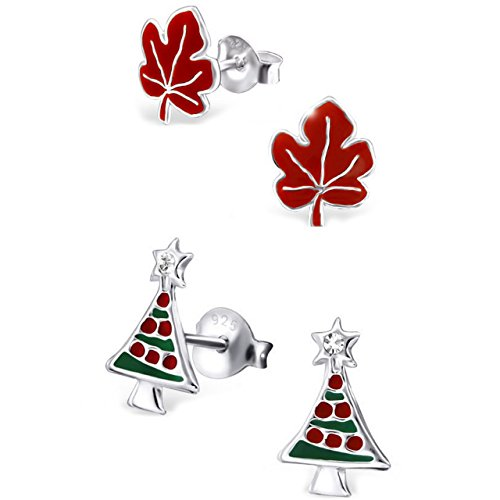 925 Sterling Silver Hypoallergenic Set of 2 Pairs Red Maple Leaf & Christmas Tree Set Stud Earrings for Girls (Nickel Free) (Best Hypoallergenic Christmas Trees)