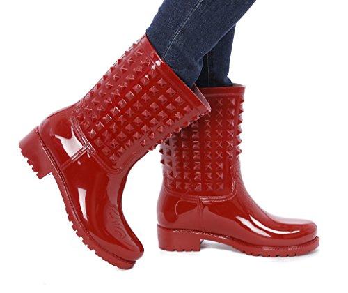 Gilbins Slush & Rain Rubber Comfortabele Laarzen Met Studded Details Op Schachtrood