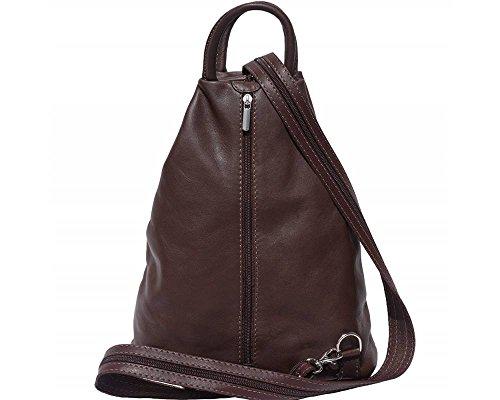 Florence Leather 207 - Bolso mochila  para mujer negro, Bordeaux & Tan (multicolor) - 207 marrón oscuro