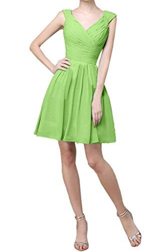 Toskana novia Fácil V de recorte a de línea corta gasa para vestido de noche fiesta vestido Prom Verde