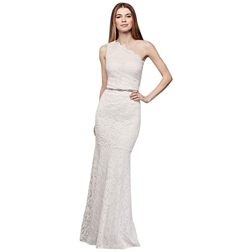 Scalloped-One-Shoulder-Glitter-Lace-Sheath-Wedding-Dress-Style-183668DB