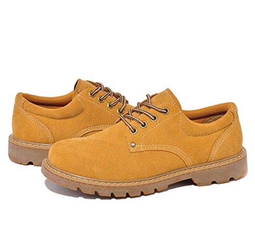 Heart&M zapatos de cuero/trabajo/skater de los hombres casual retro corte bajo ante soil yellow