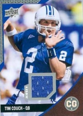 buy popular b73ba 97dfc Tim Couch player worn jersey patch football card (Kentucky ...