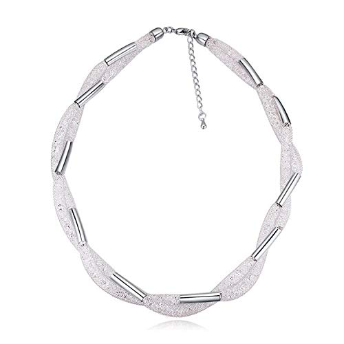 (Women Wedding Party Jewelry Choker Necklace Gold Color Twist Chain Made with Czech Crystals)
