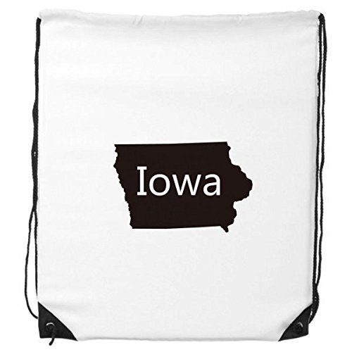Iowa String Pack - Iowa The United States Of America USA Map Silhouette Drawstring Backpack Shopping Sports Bags Gift